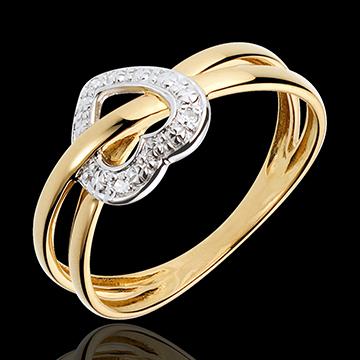 Bague planète amour - or blanc et or jaune 18 carats