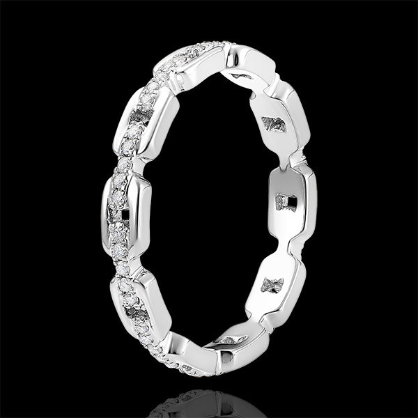 Bague Regard d'Orient - Maillon Cubain Diamants - or blanc 9 carats et diamants