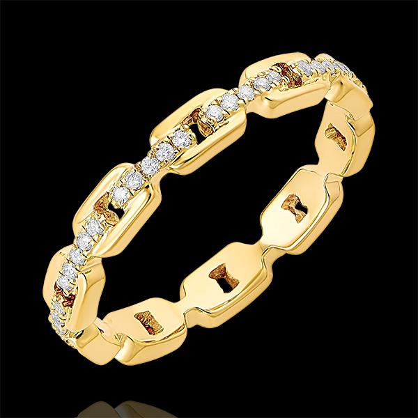 Bague Regard d'Orient - Maillon Cubain Diamants - or jaune 9 carats et diamants