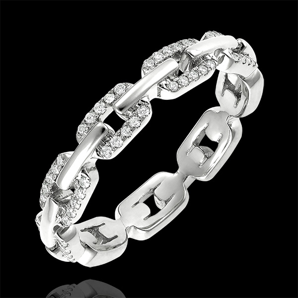 Bague Regard d'Orient - Maillon Cubain Diamants variation - or blanc 18 carats et diamants