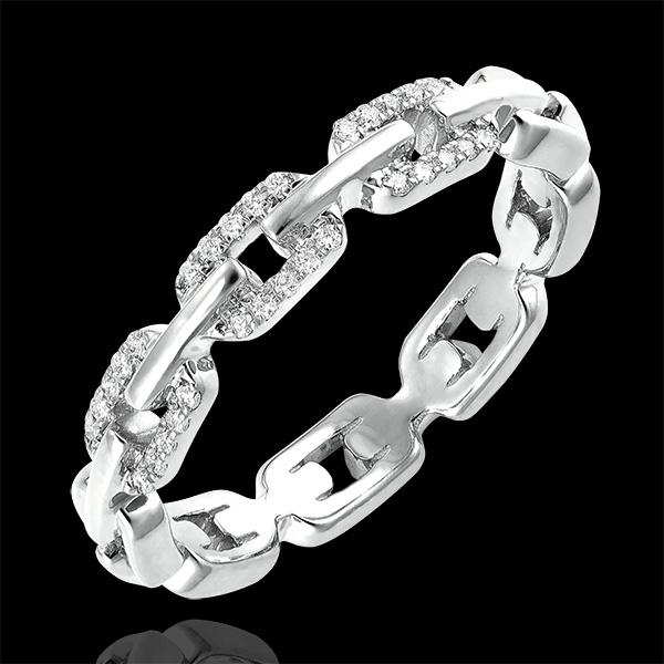 Bague Regard d'Orient - Maillon Cubain Diamants variation - or blanc 9 carats et diamants