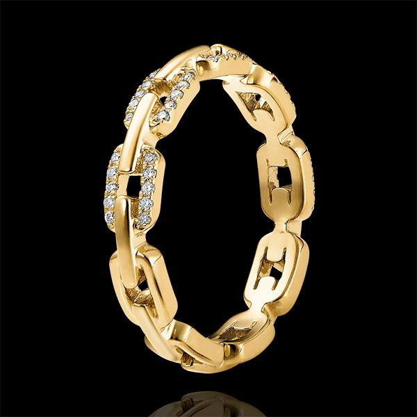Bague Regard d'Orient - Maillon Cubain Diamants variation - or jaune 9 carats et diamants
