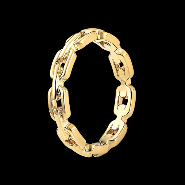 Bague Regard d'Orient - Maillon Cubain fin - or jaune 9 carats