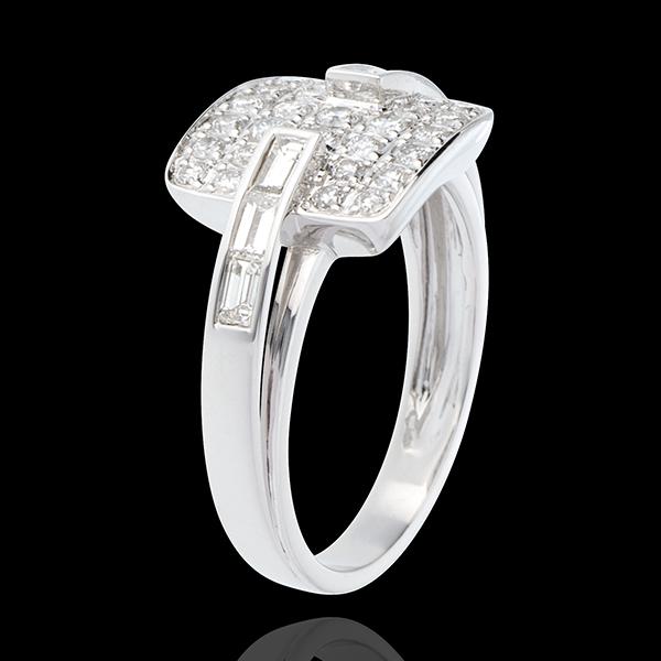 Bague riad or blanc 18 carats pavée - 0.82 carats - 32 diamants