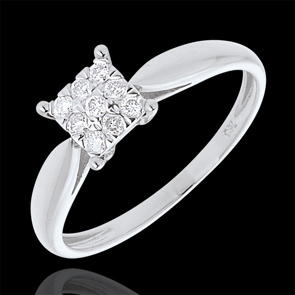 Bague roseau or blanc 18 carats dé pavée - 9 diamants