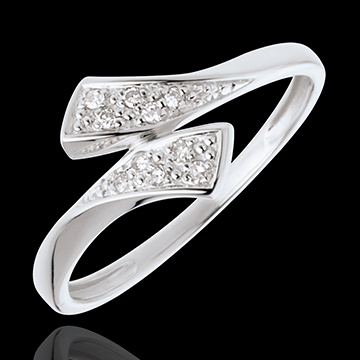 Bague ruban or blanc 18 carats pavée - 10 diamants