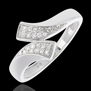 Bague ruban or blanc 18 carats pavée - 24 diamants