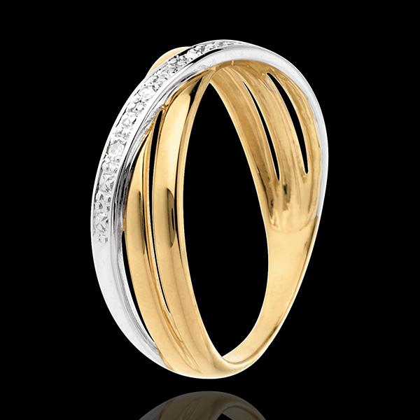Bague Saturne Duo variation - 4 diamants - or blanc et or jaune 18 carats