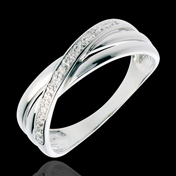 Bague Saturne Duo variation - or blanc 18 carats - 4 diamants