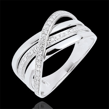 Bague Saturne Quadri , or blanc 18 carats , diamants