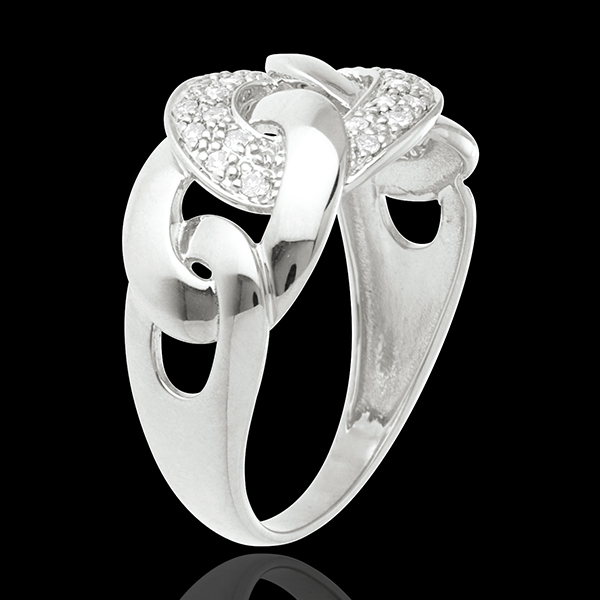 Bague sautoir or blanc 18 carats pavé - 24 diamants