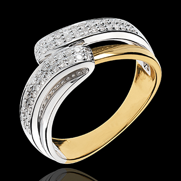 Bague Serenity - 56 diamants 0.28 carats - or blanc et or jaune 18 carats