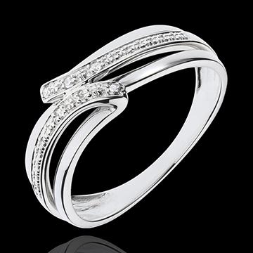 Bague Serenity or blanc 18 carats - 6 diamants