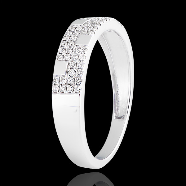 Bague Silencio - or blanc 9 carats et diamants