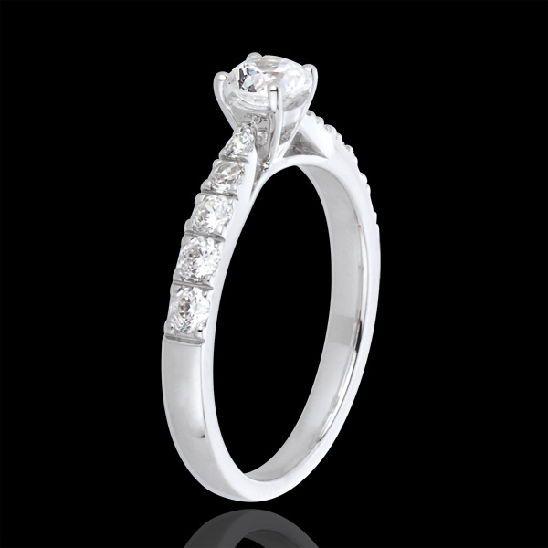 Bague Solitaire Belle Chérie or blanc 18 carats et diamants - diamant 0.4 carat