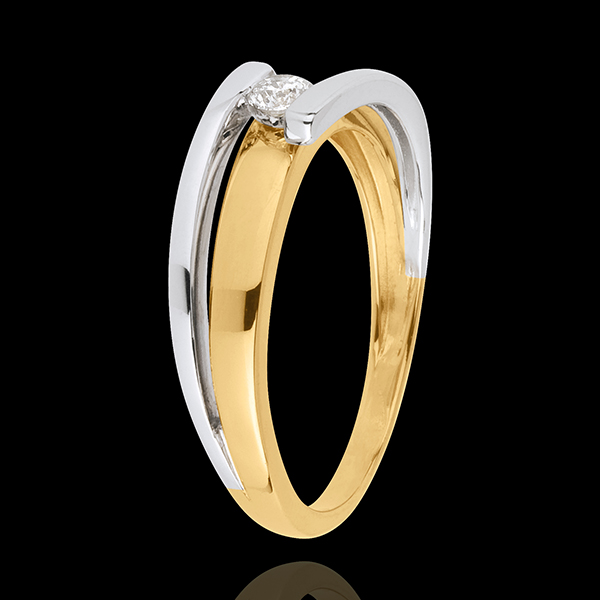 Bague solitaire Bipolaire - 0.11 carat - or blanc et or jaune 18 carats