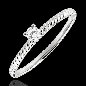 Bague Solitaire Corde d'or - or blanc 9 carats