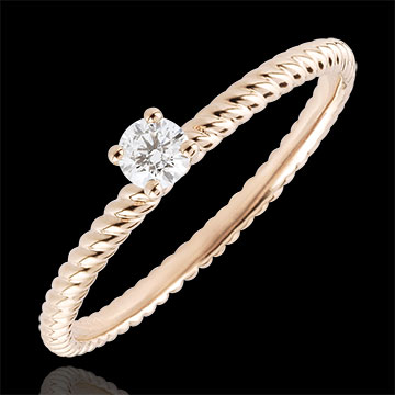 Bague Solitaire Corde d'or - or rose 18 carats - 0.1 carat