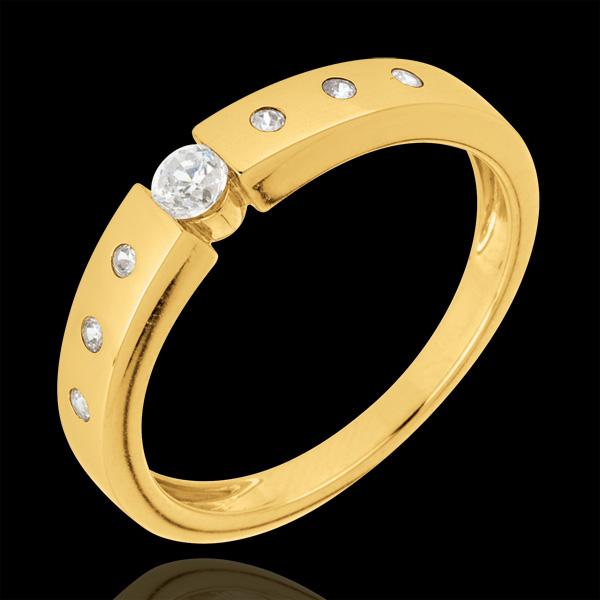 Bague solitaire Désirée or jaune 18 carats - diamant 0.10 carat