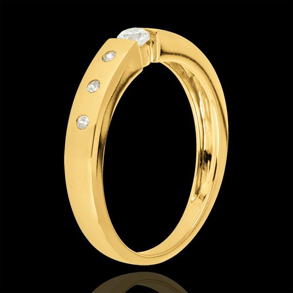 Bague solitaire Désirée or jaune 9 carats - diamant 0.10 carat
