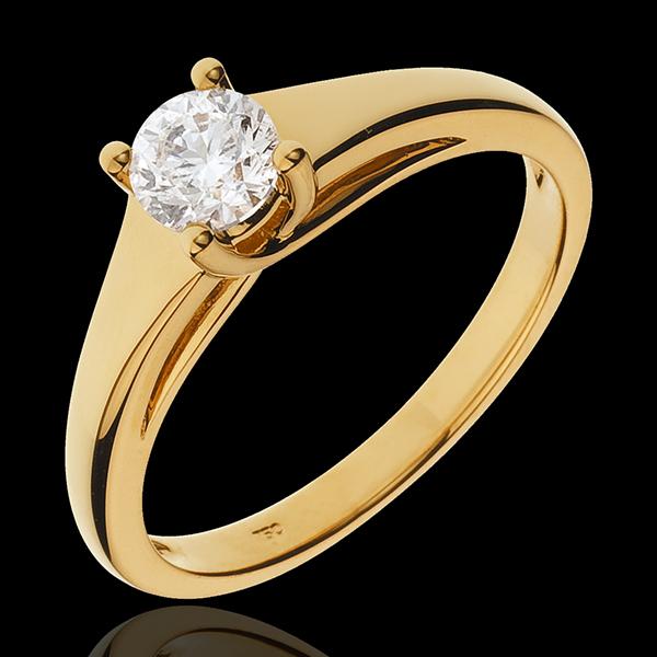 Bague solitaire Diadème or jaune 18 carats - 0.47 carat