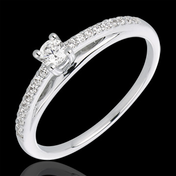 Bague solitaire diamant Avalon or blanc 18 carats