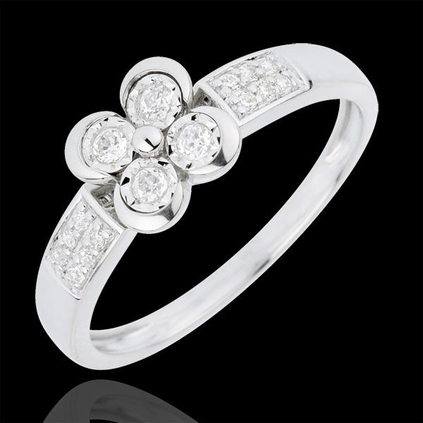 Bague Solitaire Éclosion - Trèfle des Amoureux - 4 diamants - or blanc 18 carats