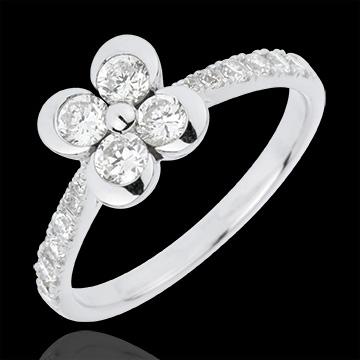 Bague Solitaire Éclosion - Trèfle des Amoureux variation - 4 diamants - or blanc 18 carats