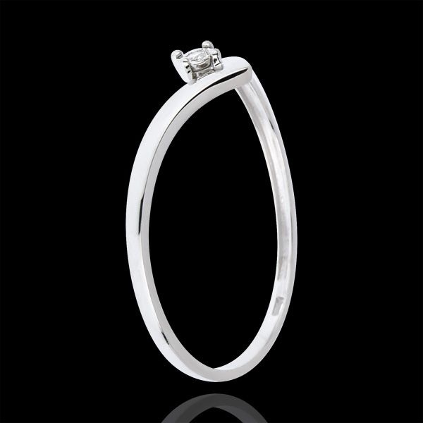 Bague Solitaire Écrin Précieux - diamant 0.01 carat - or blanc 18 carats