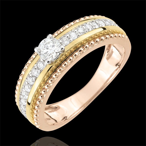 Bague Solitaire - Fleur de Sel - deux anneaux - 3 ors - 0.378 carat - trois ors 9 carats