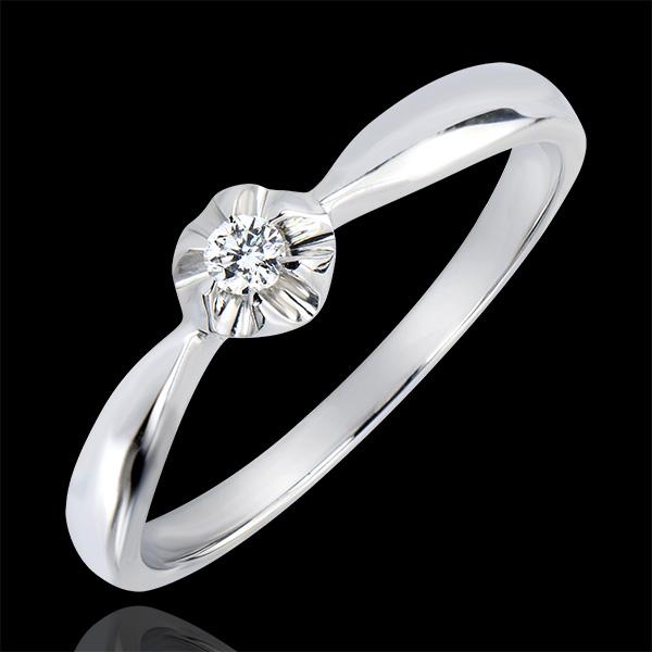 Bague Solitaire Fraicheur - Bouton d'Or - or blanc 9 carats et diamant