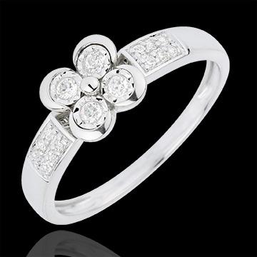 Bague Solitaire Fraicheur - Trèfle des Amoureux - 4 diamants - or blanc 18 carats