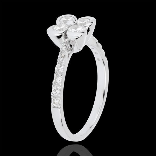 Bague Solitaire Fraicheur - Trèfle des Amoureux variation - 4 diamants - or blanc 18 carats