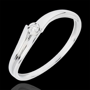 Bague Solitaire Lucea - or blanc 18 carats