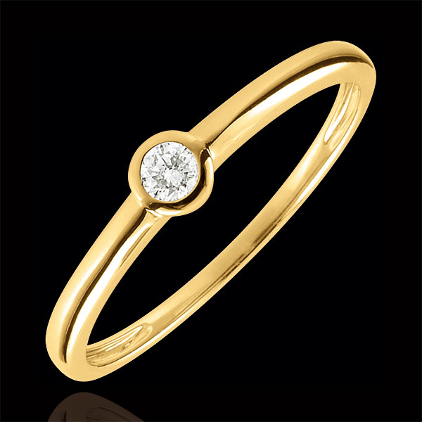 Bague Solitaire Mon diamant - or jaune 9 carats - diamant 0.08 carat