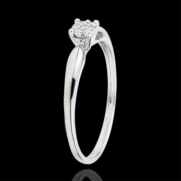 Bague Solitaire Myriade d'étoiles - diamant 0.04 carat - or blanc 9 carats