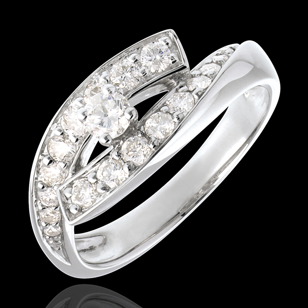Bague Solitaire Nid Précieux - Diva - or blanc 18 carats - grand modèle - 0.15 carat