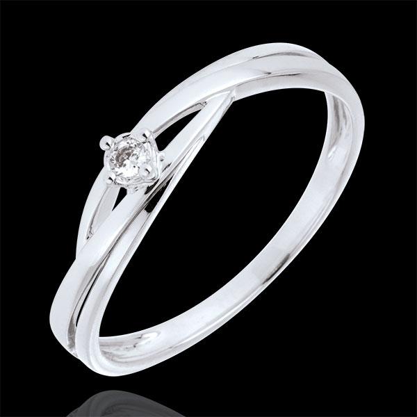 Bague solitaire Nid Précieux - Dova - or blanc 9 carats - diamant 0.03 carat