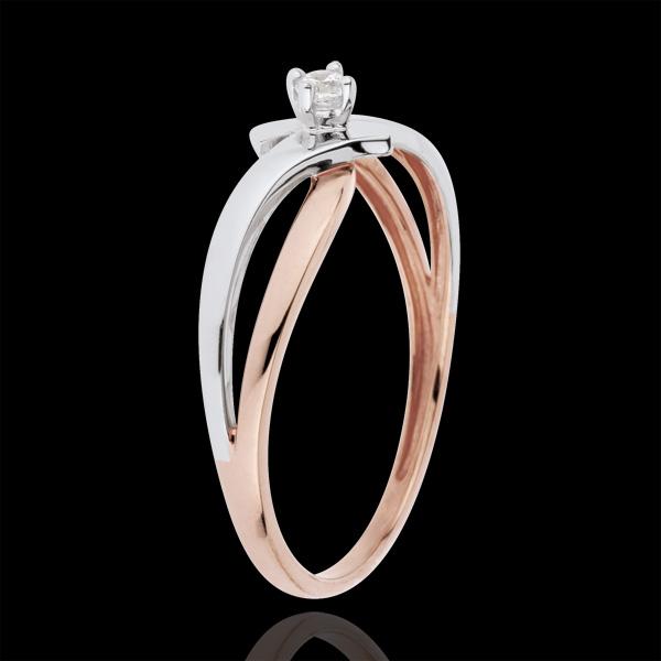 Bague Solitaire Nid Précieux - Lumière - diamant 0.05 carat - or blanc et or rose 18 carats