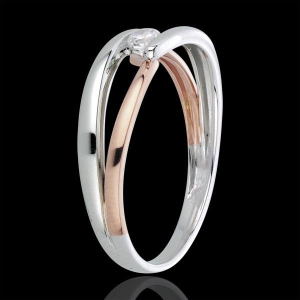 Bague Solitaire Nid Précieux - Matin - diamant 0.10 carat - or blanc et or rose 18 carats