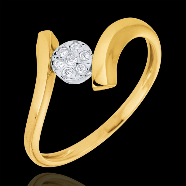 Bague solitaire Nid Précieux - Pépite d'Amour - or jaune 9 carats
