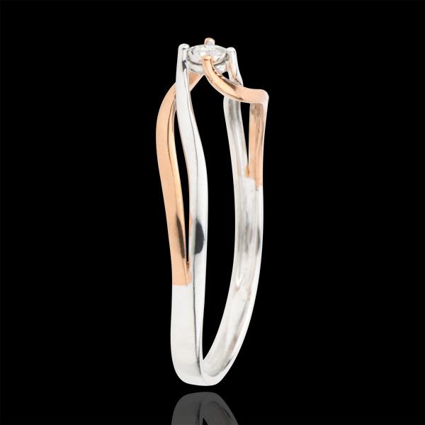 Bague Solitaire Nid Précieux - Précieuse - diamant 0.03 carat - or blanc et or rose 9 carats