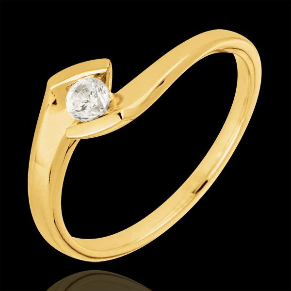 Bague solitaire Nid Précieux - Soir d'été - or jaune 18 carats - diamant 0.12 carat