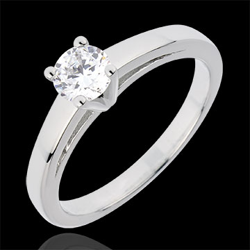Bague Solitaire Nuptiane - or blanc 18 carats