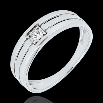 Bague Solitaire or blanc 9 carats Triple rangs