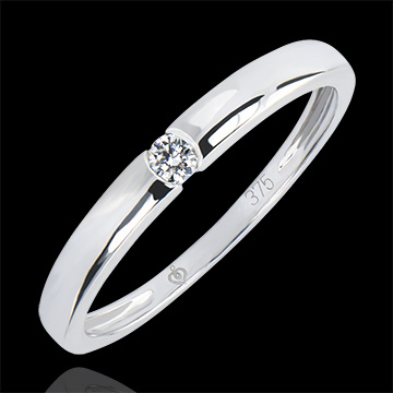 Bague Solitaire Origine - One - or blanc 9 carats et diamant