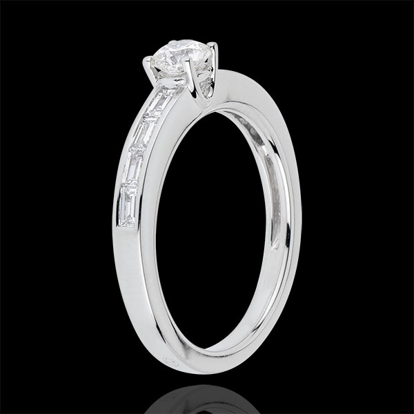 Bague Solitaire Perfection - or blanc 18 carats