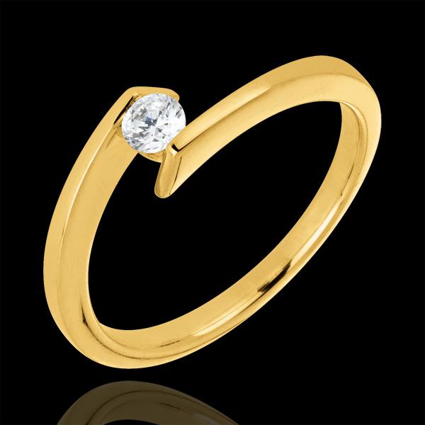 Bague solitaire Princesse étoile or jaune 9 carats - diamant 0.15 carat