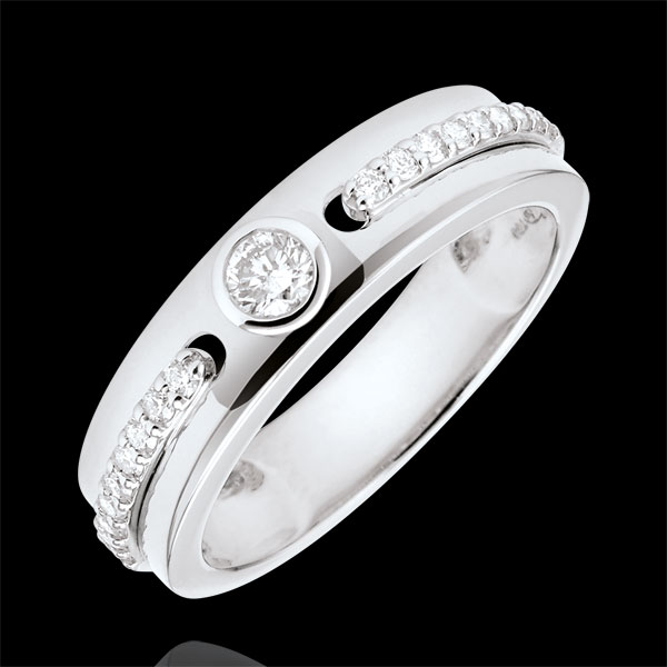 Bague Solitaire Promesse - or blanc 9 carats et diamants