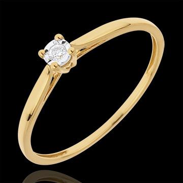 Bague Solitaire Roseau - 0.03 carat - or jaune 18 carats